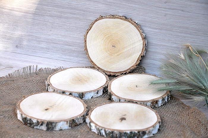 Amazon Set Of Five 4 5 Birch Wood Slices Wooden Coasters