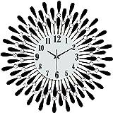 Tinksky Wall Clock Modern Living Room Clock Diamante Mute Easy to Read Large Clocks