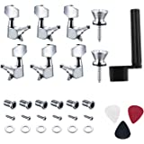Canomo 6 Pieces Sealed Guitar String Tuning Pegs Keys 3 Left 3 Right Guitar Machine Heads Knobs With Strap Button Locks, Picks and Guitar String Winder for Electric or Acoustic Guitar