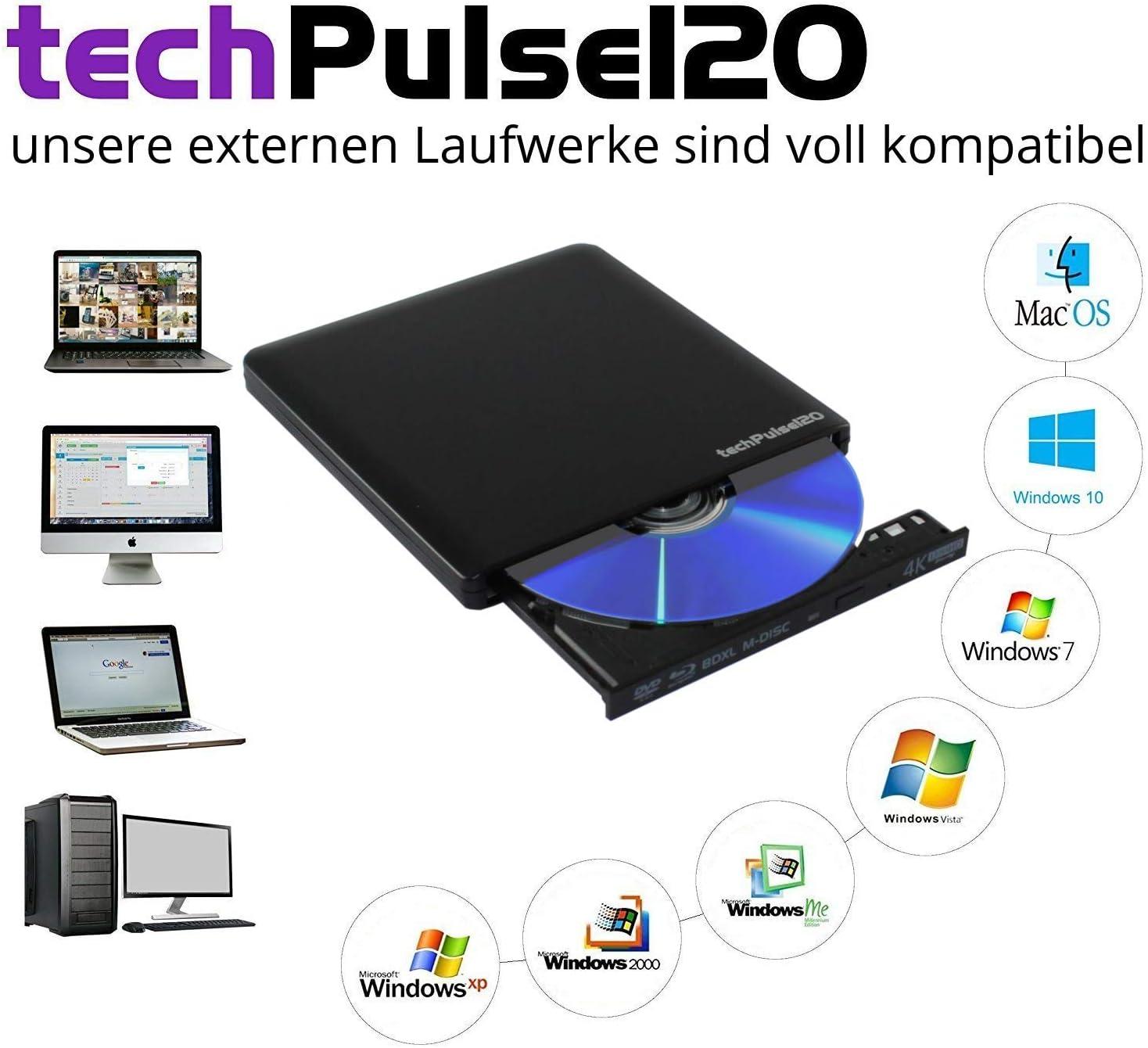 Grabadora de BLU-Ray techpulse120/V2.2 Aluminio Negro UHD BLU-Ray Brenner USB xDeluxe Paket