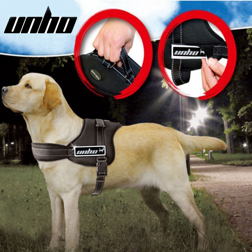 UNHO Dog Body Harness Padded Extra Big Large Medium Small Heavy Duty Vary from All Kinds of Size (M)