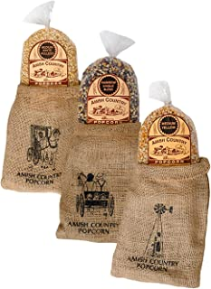 product image for Amish Country Popcorn   3 - 2 lb Bags   6 lb Burlap Variety Set   Medium White - Medium Yellow - Rainbow Popcorn Kernels   Old Fashioned with Recipe Guide (3 - 2 lb Bags)