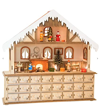 best seller new wooden christmas advent calendar 24 drawers lights up house scene 10546 - Wooden Christmas Advent Calendar
