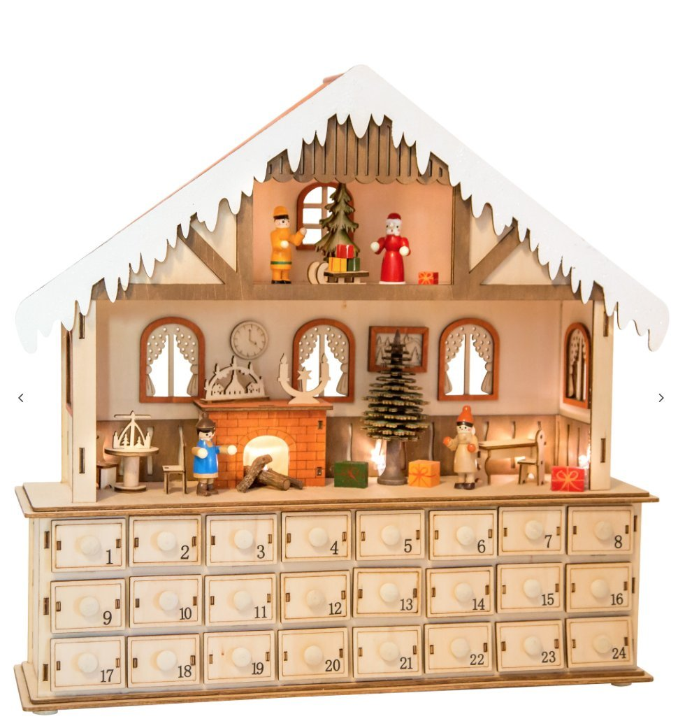 Best Seller New Wooden Christmas Advent Calendar 24 Drawers Lights Up House Scene 10546