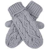 HDE Women's Winter Crochet Twist Cable Knit Hand Warmer Mitten Gloves (Grey)