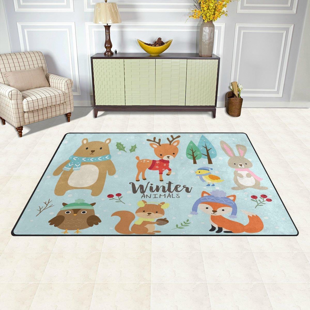 WOZO Deer Head Vintage Area Rug Rugs Non-Slip Floor Mat Doormats Living Room Bedroom 31 x 20 inches