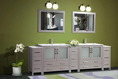 Vanity Art 108 Inch Double Sink Modern Bathroom Vanity Compact Set 2 Shelves 13 Drawers Ceramic Top Under-Mount Sink Bathroom Cabinet with Two Free Mirrors VA3036-108-G