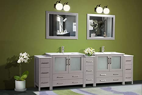 Amazon Com Vanity Art 108 Inch Double Sink Modern Bathroom Vanity Compact Set 2 Shelves 13 Drawers Ceramic Top Under Mount Sink Bathroom Cabinet With Two Free Mirrors Va3036 108 G Kitchen Dining