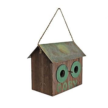 Rústico de madera Cosy Casa para pájaros/caja Nido con techo de metal