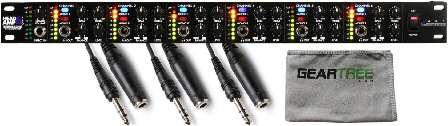 ART HeadAmp 6 Pro 6 Channel Headphone Amp HeadAmp6 w//Geartree Cloth and 3 Exten