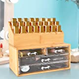 Bamboo Cosmetic Storage Organizer, Makeup Organizer Cosmetics, Jewelry, Hair Accessories, Bathroom Counter or Dresser, Clear