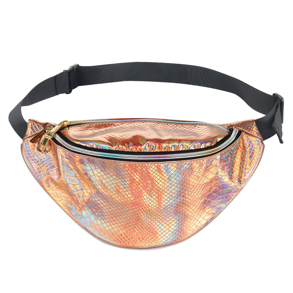 COSCOD Neon Holographic Fanny Pack 80s Cute Fashion Fanny Packs Women Girls, Shiny Waist Pack Bum Bag Rave, Festival, Party, Travel Cute Waist Bags Bum Bag Rave