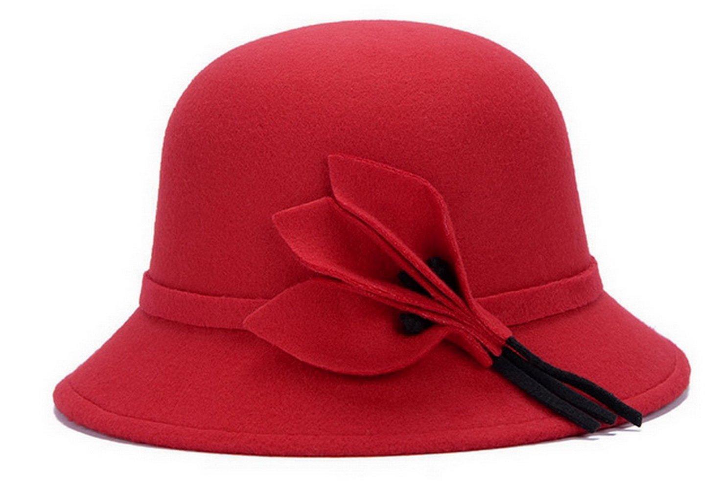 Brcus Women Wool Felt Church Cloche Cap Bucket Hat Bowler Hats with Leaves Band
