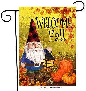 Artofy Welcome Fall Decorative Small Garden Flag, House Yard Outside Gnome Decor Sign Buffalo Plaid Check, Autumn Pumpkins Farmhouse Home Decorations Seasonal Outdoor Flag Double Sided 12 x 18