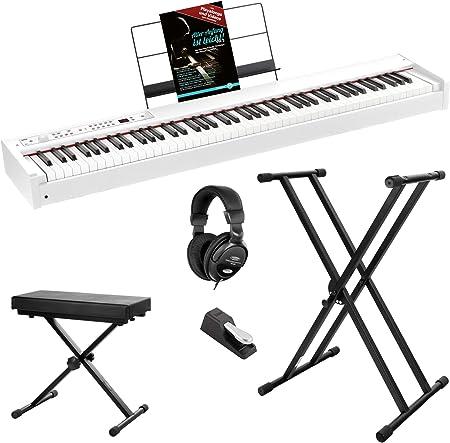 Korg D1 WH - Piano digital (incluye pedal, atril, auriculares ...