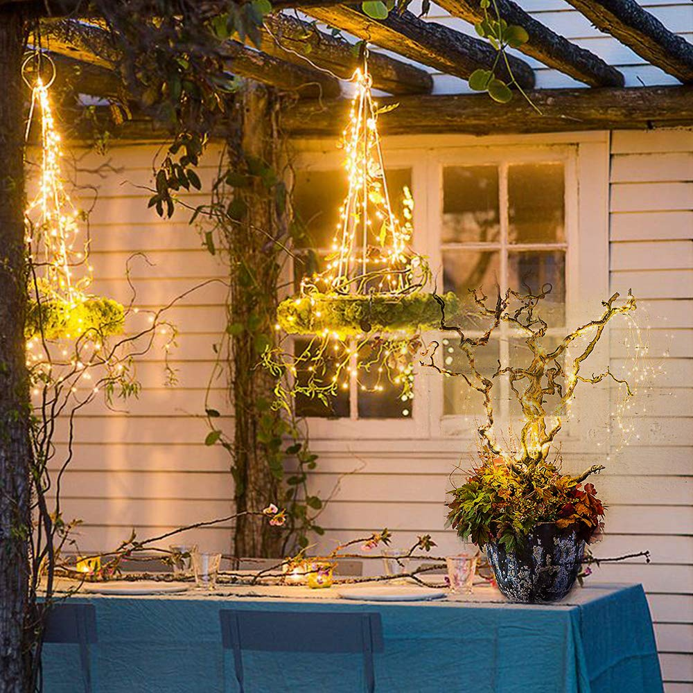 Window Curtain String Lights, 9.8 × 9.8 ft USB Port 300 LED Starry Fairy Light for Wedding, Bedroom, Bed Canopy, Garden, Patio, Outdoor Indoor(Warm)