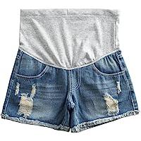 db3bfc6856e3 Women s Summer Adjustable Maternity Pregnant Plus Size Denim Shorts