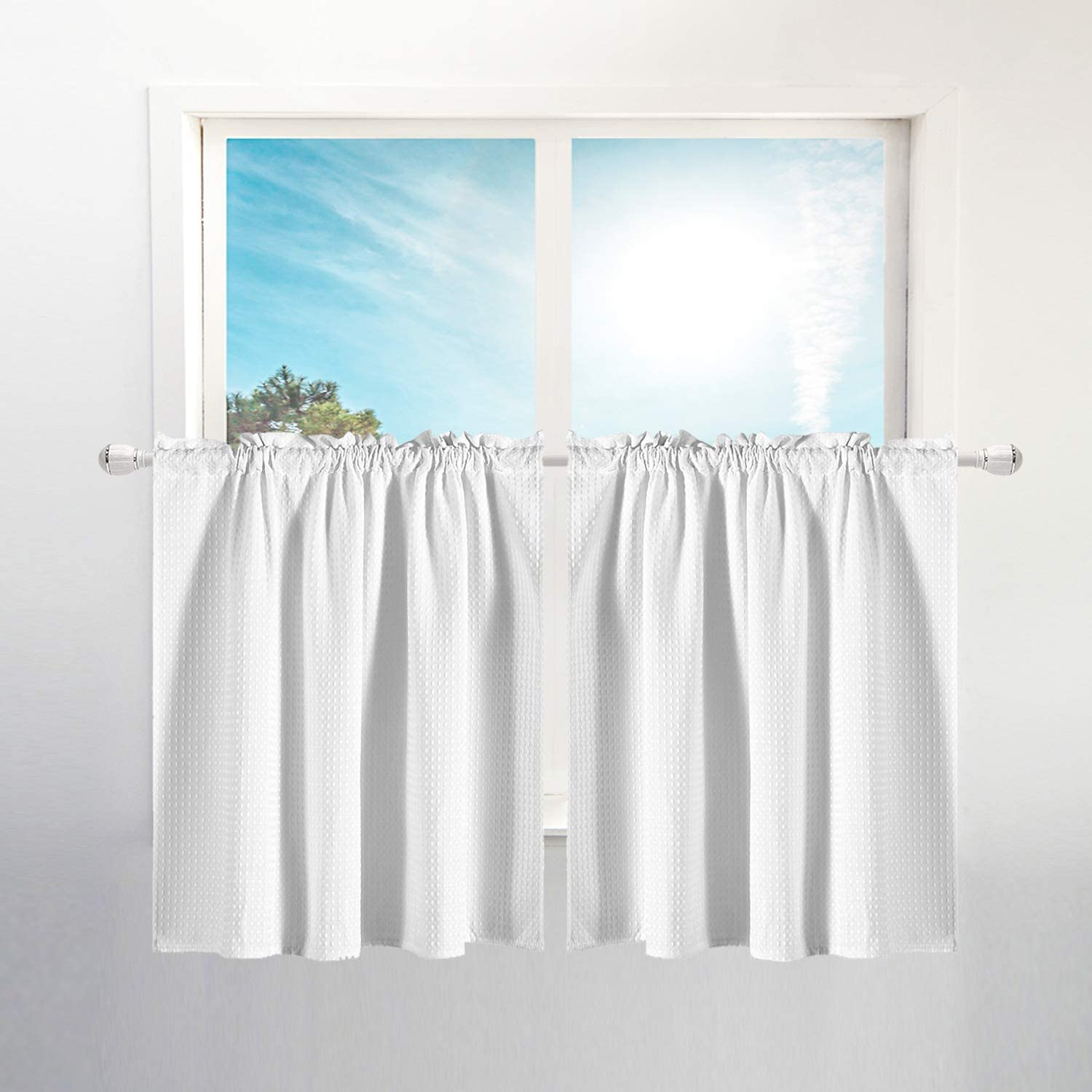 waffle weave half window tier curtains 30 inch length for small window in kitchen bathroom waterproof and washable white 36 x 30 for each
