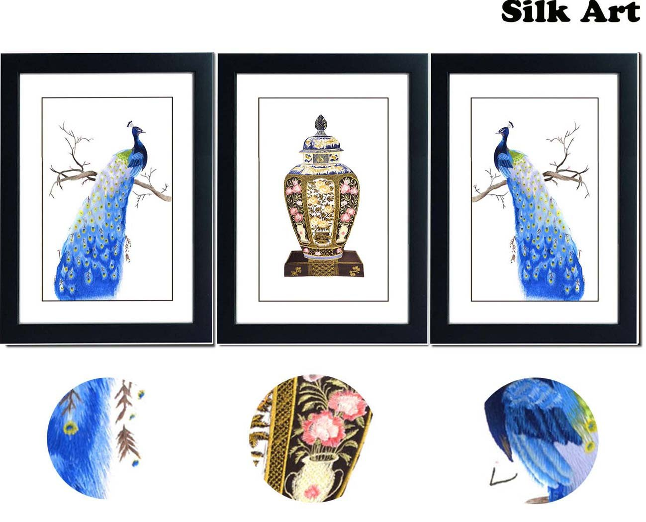 SmartWallArt - 3 Panels Peacocks Needlepoint Embroidery Paintings Collection Framed with Mat, Suzhou Silk Embroidery Artwork for Home Decor or as Perfect Wedding Gift (06:Collection) by SmartWallArt