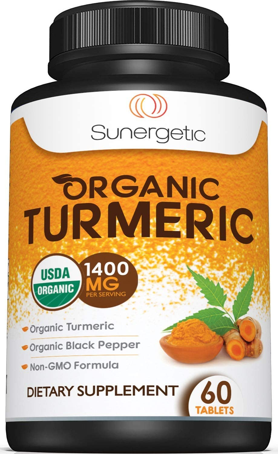 USDA Certified Organic Turmeric Supplement Includes Organic Turmeric Organic Black Pepper 1,400mg of Turmeric per Serving 60 Turmeric Tablets