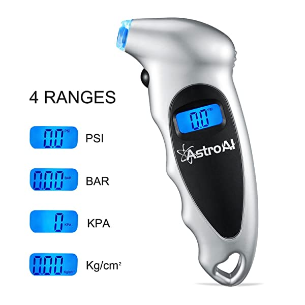 With a CR2032 lithium battery, the AstroAI pressure gauge features an ergonomic design and non-slip exterior surface.