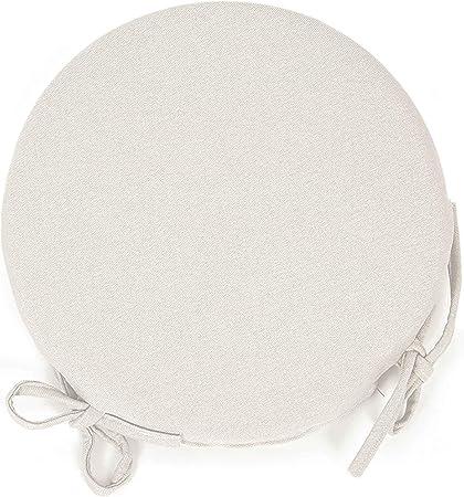 Arketicom (Set 4 pz) Cuscini Sedie Cucina Rotondi Sfoderabili con alette lacci laccetti Cotone Poliestere Copri sedia tondo (cuscino casa giardino)