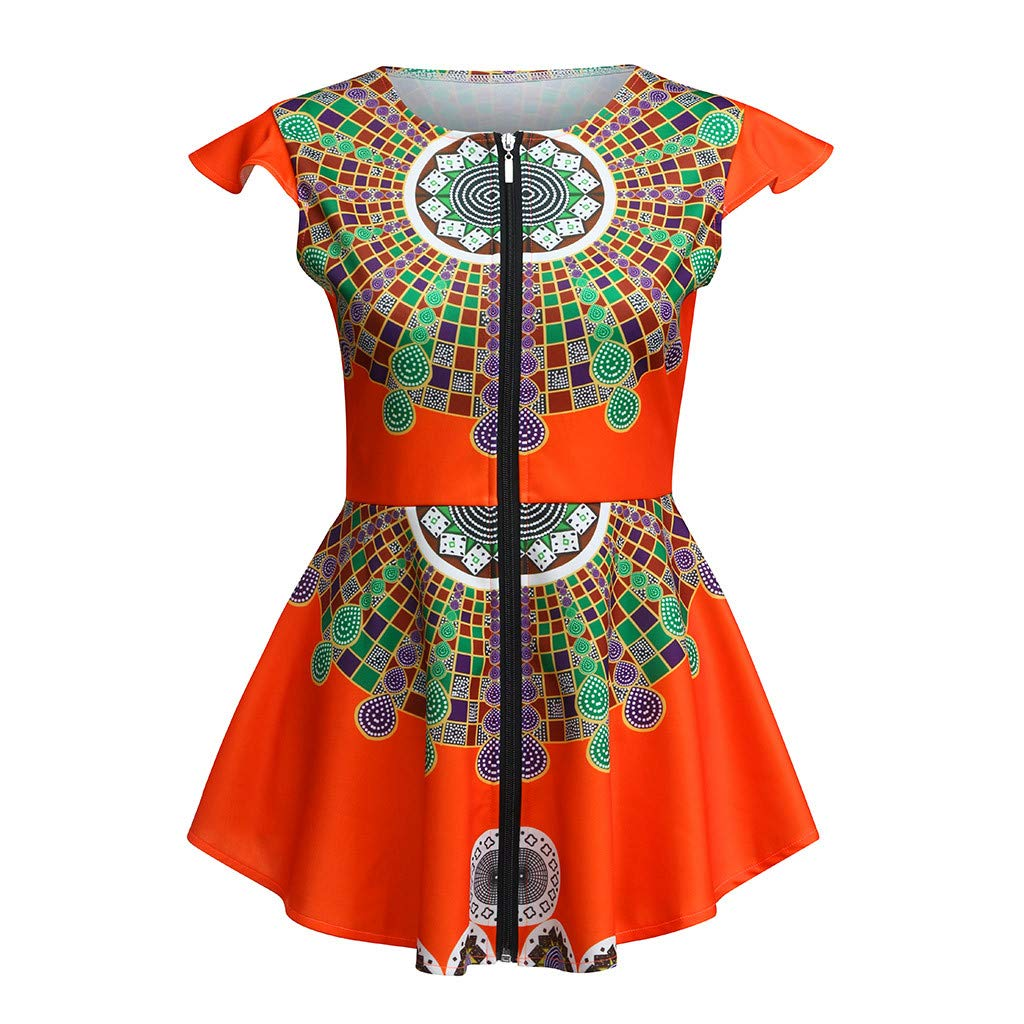 Womens Dashiki Tops Sleeveless Zipped African Printed Slim Fit Shirts Tunic Blouse (Orange, M)