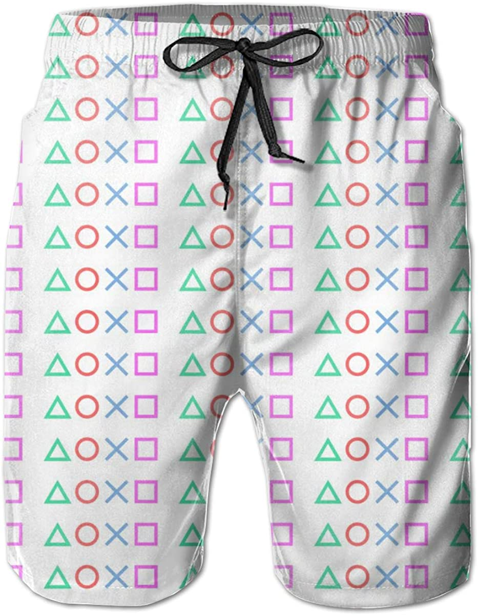 Mens Swim Trunks Quick Dry Colorful Playstation 4 Purple Buttons Printed Summer Beach Shorts Board Beach Short
