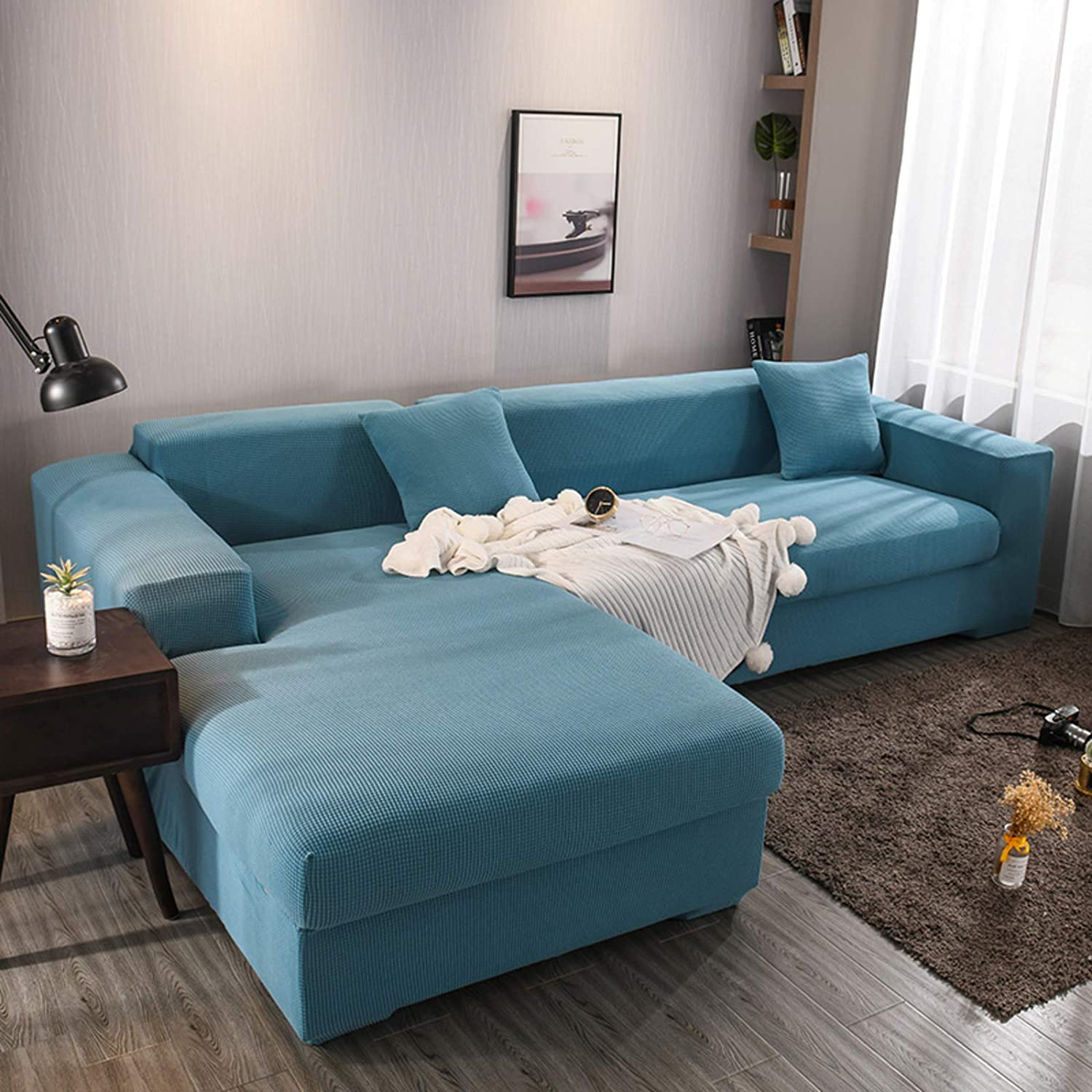 D&LE Sectional Couch Covers,2pcs L-Shaped Sofa Covers,Softness Furniture Slipcovers,Polyester Fabric Stretch Sofa Covers 3 Seats+4 Seats-Blue L-Shape 3+4 Seats(75''-91''+92''-119'')