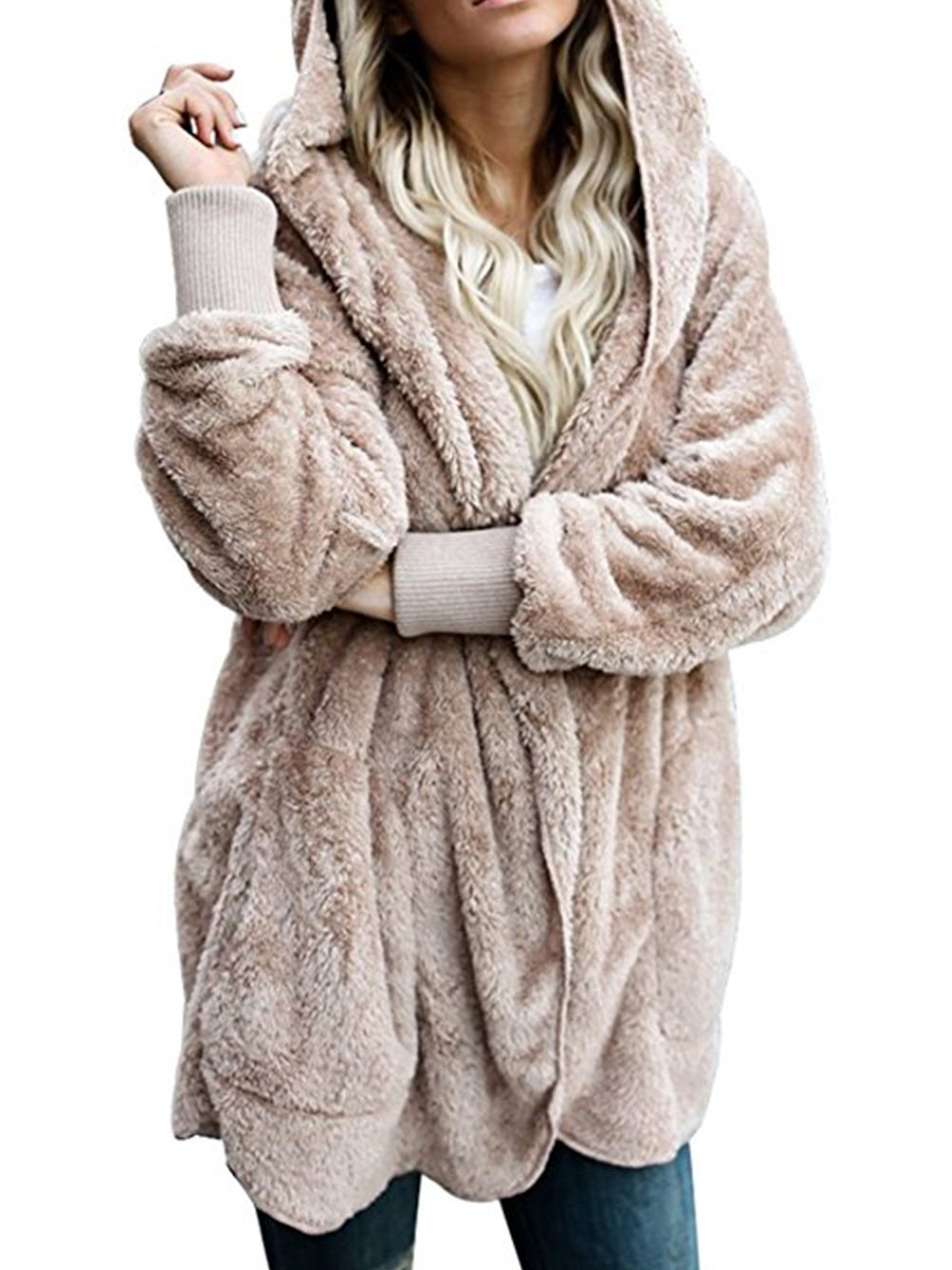 WD-Amour Womens Furry Open Front Hooded Cardigan Jacket Coat Outwear with Pocket(S,Khaki)