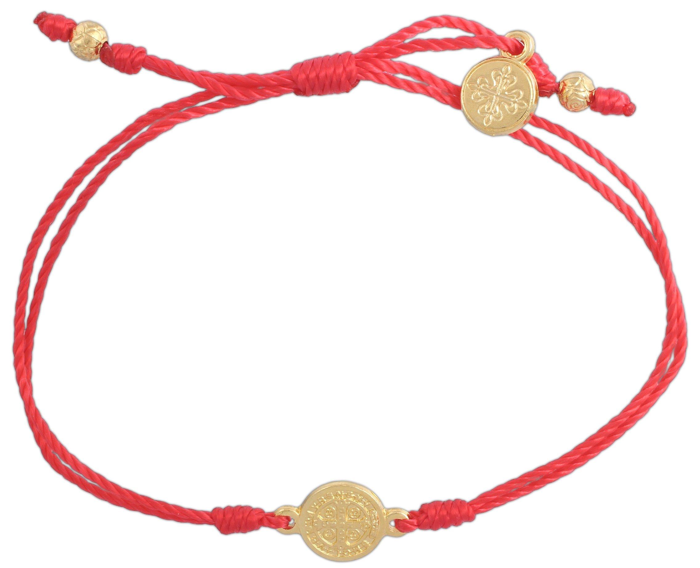 Inspirational Breathe Bracelet, Adjustable (Gold Plated Medal on Red)
