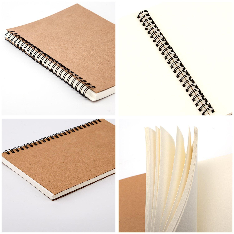 8 x 5.5) AIEX Sketchbook carnet de Croquis avec Spirale carnet /à Dessin Kraft Cahier Esquisse pour Les Enfants Adultes(100 Pages