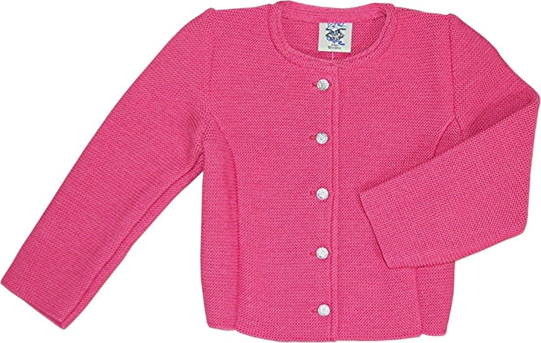 süße Kinder Trachten Strickjacke Janker SUSI für Mädchen, hellblau pink oder natur-weiß