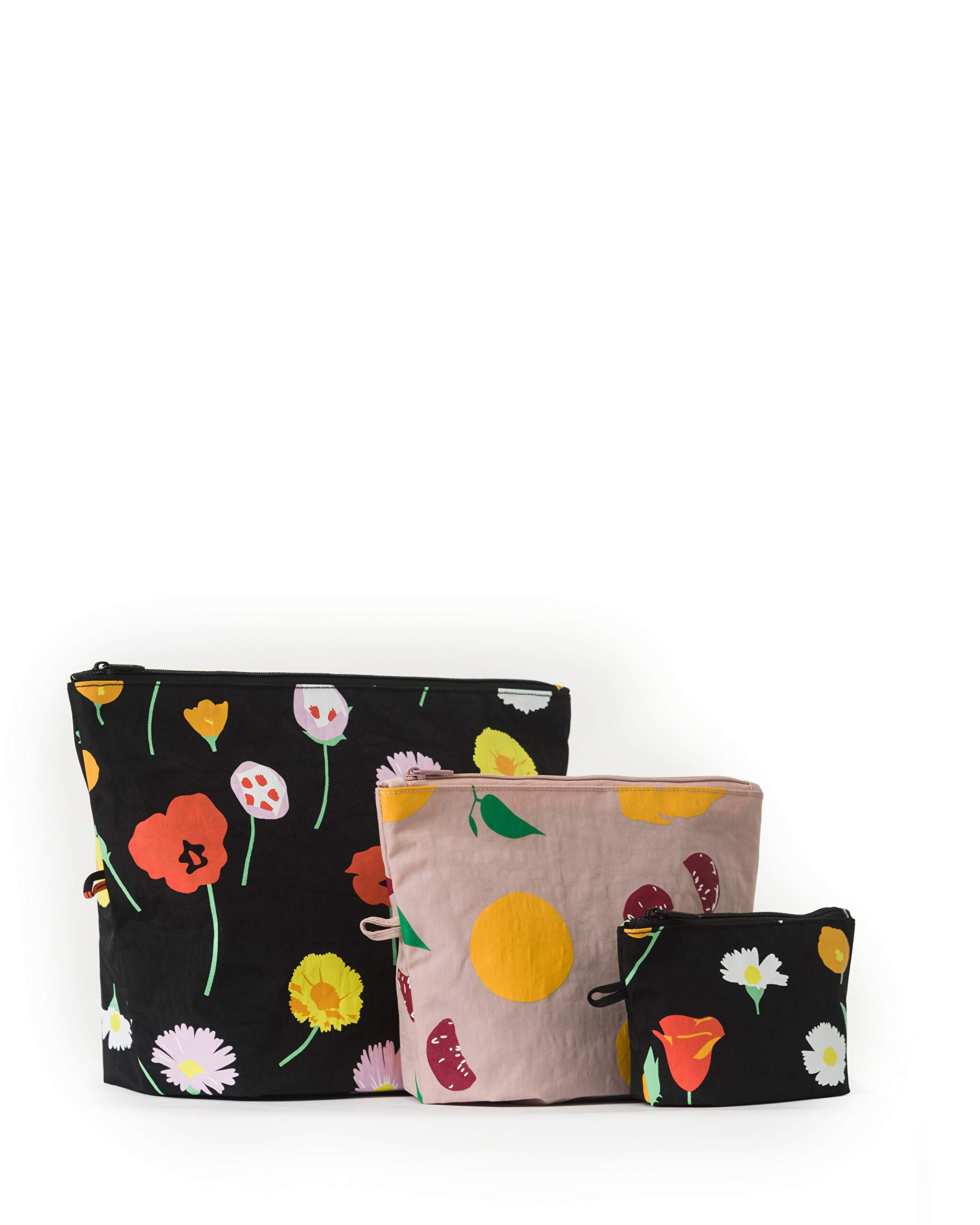 BAGGU Go Pouch Set, Expandable Nylon Zip Pouch 3 Pack for Travel and Organization, Flora