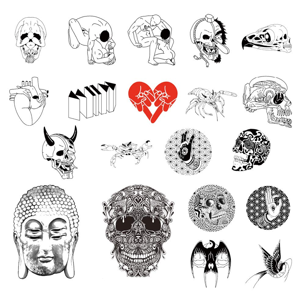 20 Creative Design Temporary Tattoos by Inktells 2020 new,Waterproof fake tattoos for Women Men Adult Kids Boys Girls,Neck Back Arm Hand Stickers about Amimal Swallow Skull Buddha(4 sheets)
