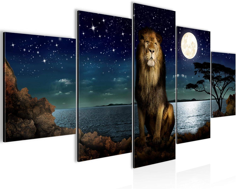 decoración de la pared Tabla África leones - 150 x 75 cm Vista de impresión en lienzo Salón Apartamento - listo para colgar - 022953a