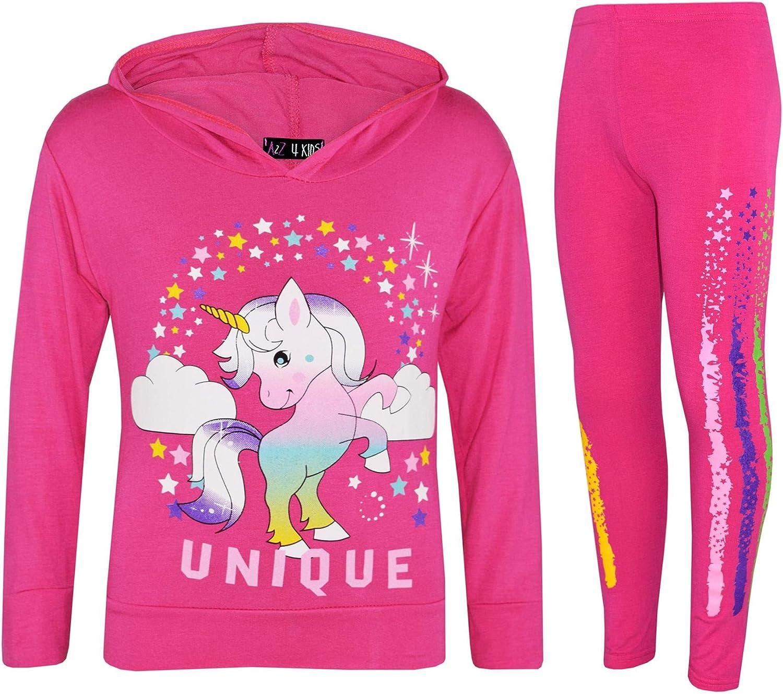 Fashion Oasis Girls Unicorn Hooded Top and Leggings Tracksuit Set Dab Floss