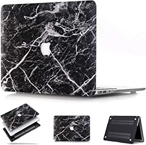 MacBook Retina 12 inch Case A1534, PapyHall New Black Marble Pattern Rubber Coated Hard Shell Cover for MacBook 12 inch with Retina Display Model: A1534 - Black Marble