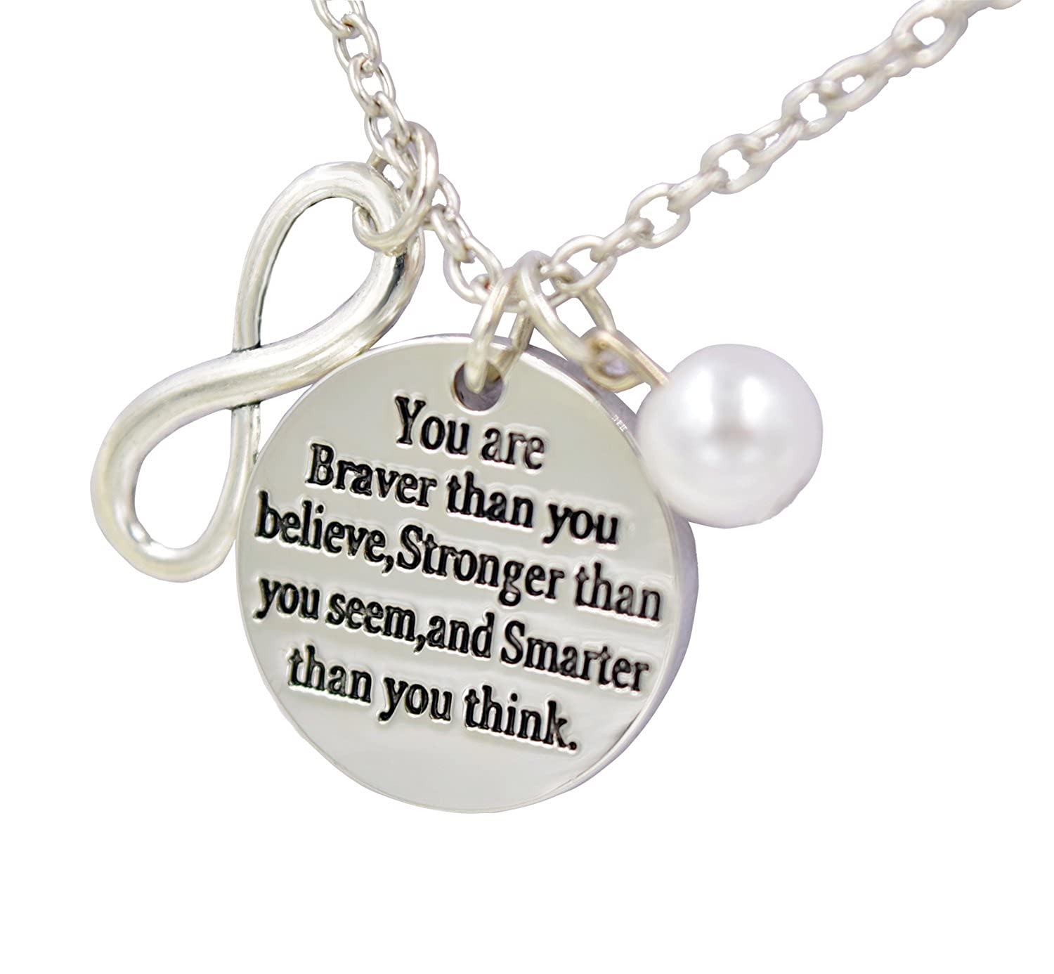 LIERDAR Women Girls Gift You are Braver Stronger Smarter Than You Think Inspirational Charm Necklace ACSSNL170103-A02