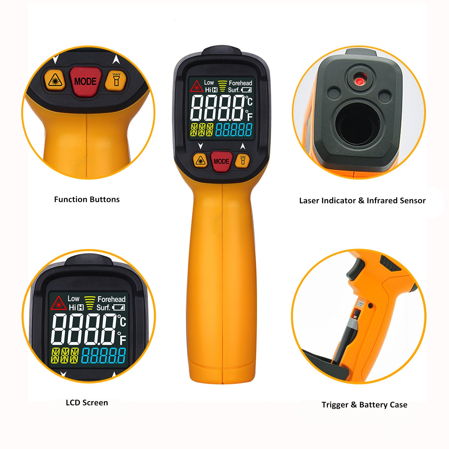 Digital Infrared thermometer Peakmeter PM6530A Laser IR Temperature Gun LCD for Kitchen Cooking Automotive with Temperature Bridge Alarm Function Display -58°F~572°F(-50°C~300°C) by uvcetech (Image #3)