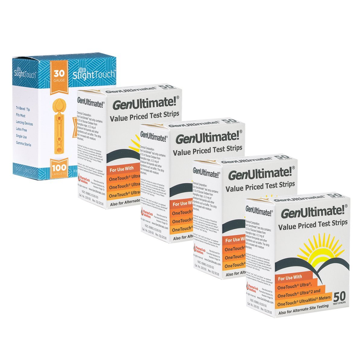 GenUltimate Blood Glucose Test Strips For Use with One Touch Ultra Meters - 200 Strips With 100 Slight Touch Lancets