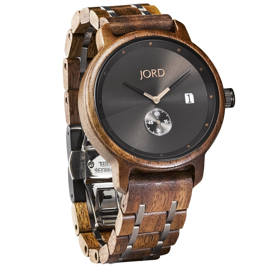 JORD Wooden Wrist Watches for Men - Hyde Series / Wood Watch Band / Wood Bezel / Analog Quartz Movement - Includes Wood Watch Box (Walnut & Black)