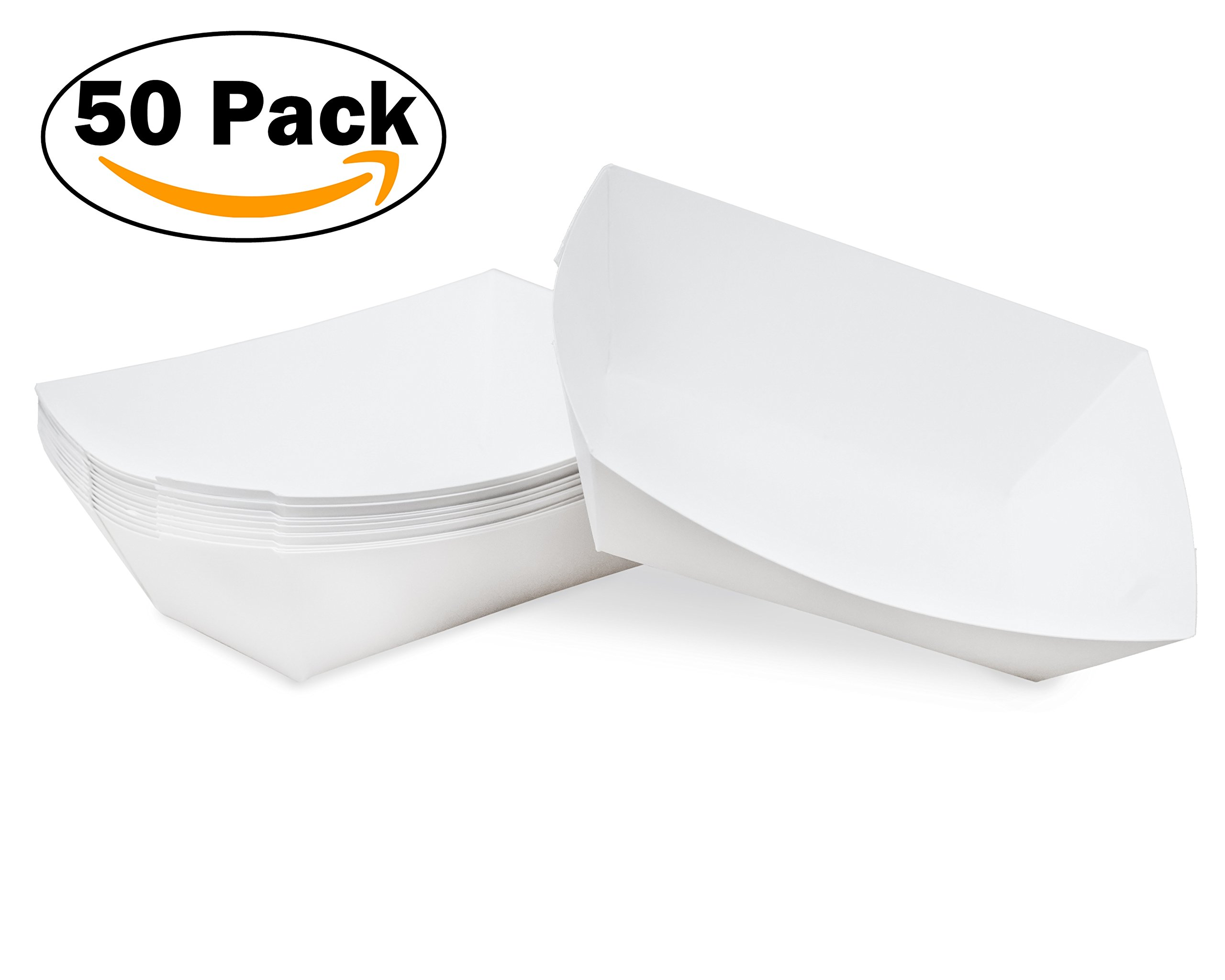 1/2 lb White Disposable Paper Food Tray for Carnivals, Fairs, Festivals, Concession Stands, Food Trucks (White - extra small 1/2 lb, 50 pack)