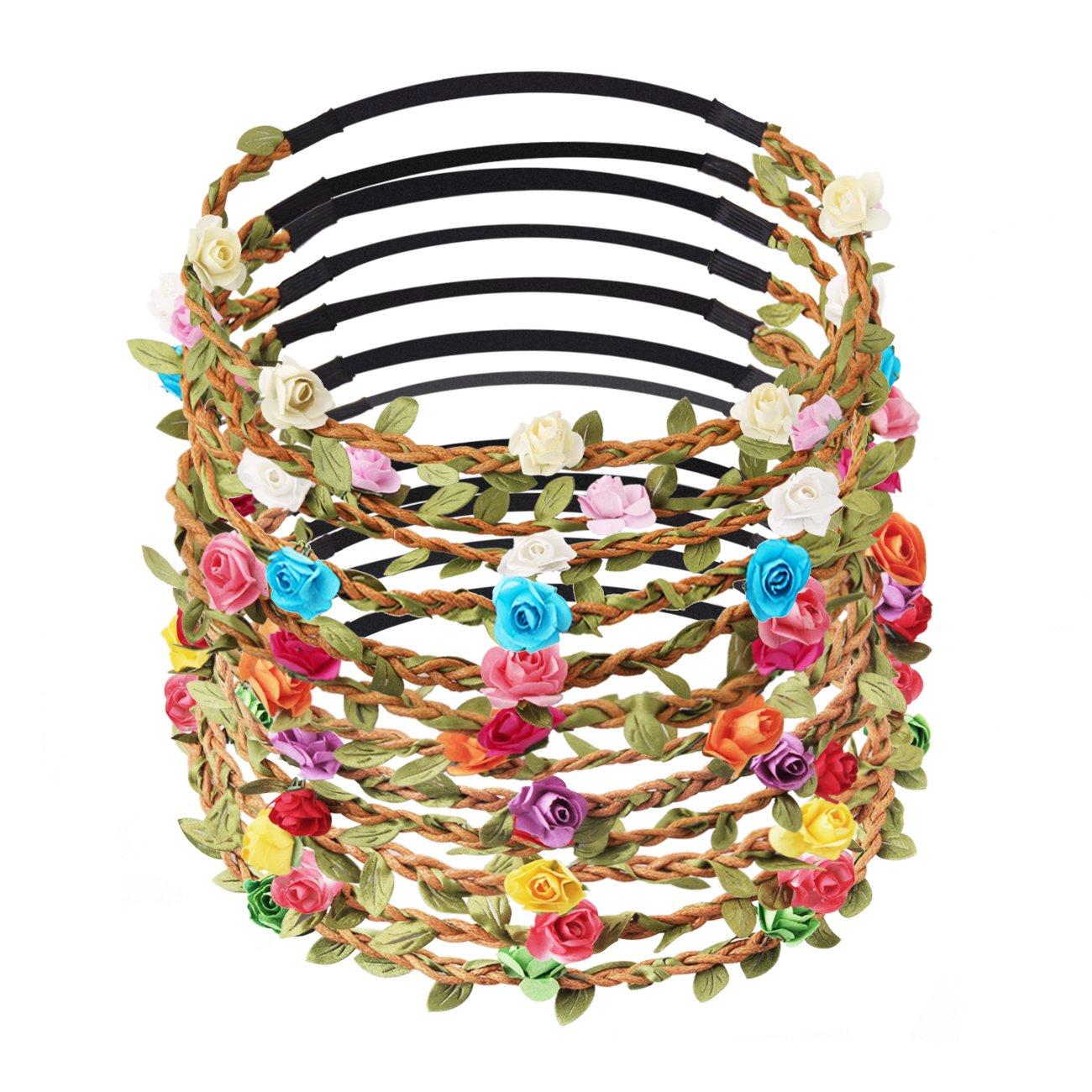 Candygirl 12pcs Girl Fashion Bohemian Flower Crown Floral Garland Headbands For Girls