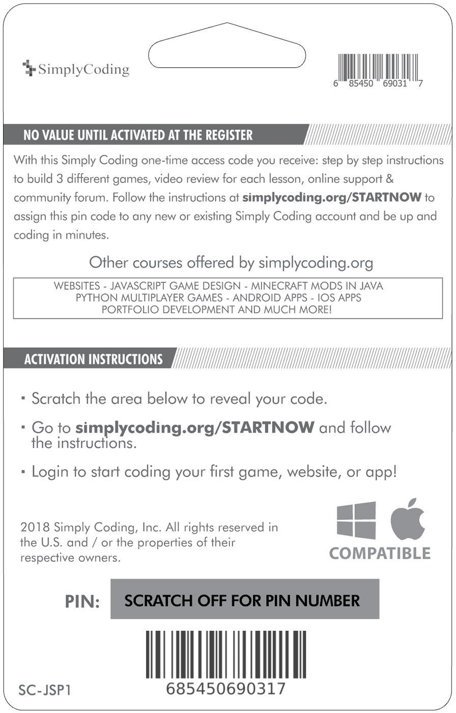 Simply Coding for Kids: Learn to Code Javascript - Video Game Design Coding  Software - Computer Programming for Kids, Ages 11-18, (PC, Mac, Chromebook