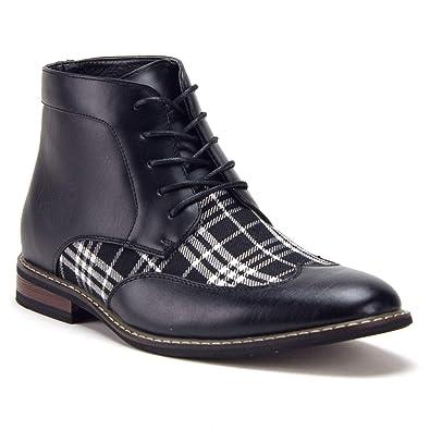 d73cf938af3 Men's Vintage Plaid Print Wing Tip Oxfords Ankle High Lace Up Dress Boots