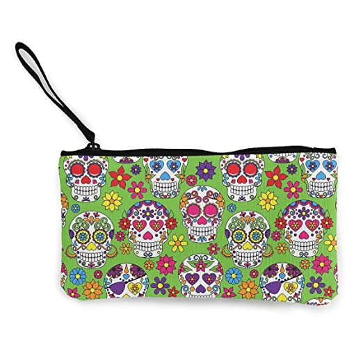 Coin Pouch Green Colorful Sugar Skull Canvas