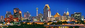 San Antonio Skyline Photo Print UNFRAMED Night Color 11.75 inches x 36 inches City Photographic Panorama Poster Picture Standard Size