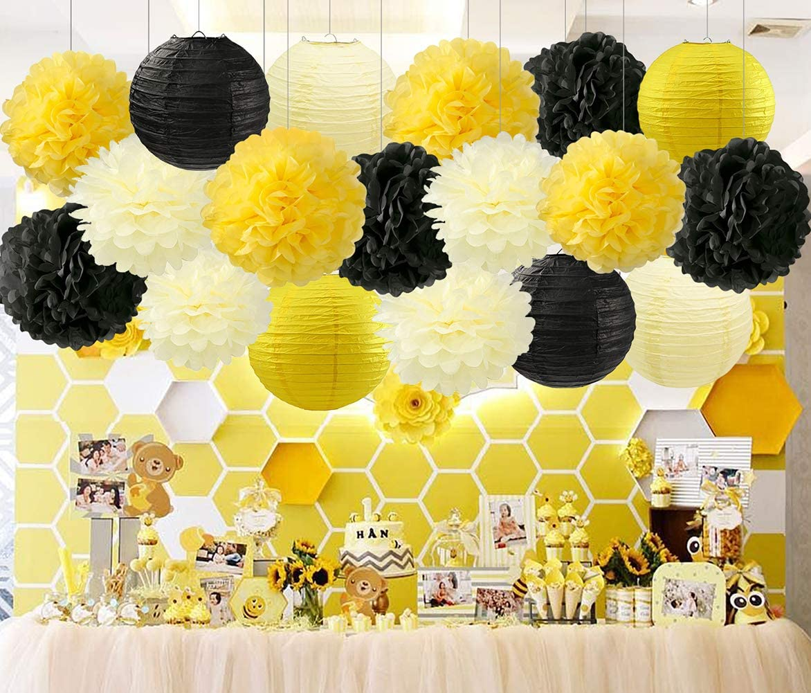 """HappyField Honey and Bee Baby Shower Decorations Yellow Cream Black Tissue Paper Pom Poms Flower Paper Lanterns for Honey Bee Birthday Party Wedding Bridal Shower Outdoor Decoration 18Pcs Mixed 8"""" 10"""""""