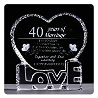 YWHL 40 Year Wedding 40th Anniversary Crystal Sculpture Keepsake Gifts for Her Wife Girlfriend Him Husband
